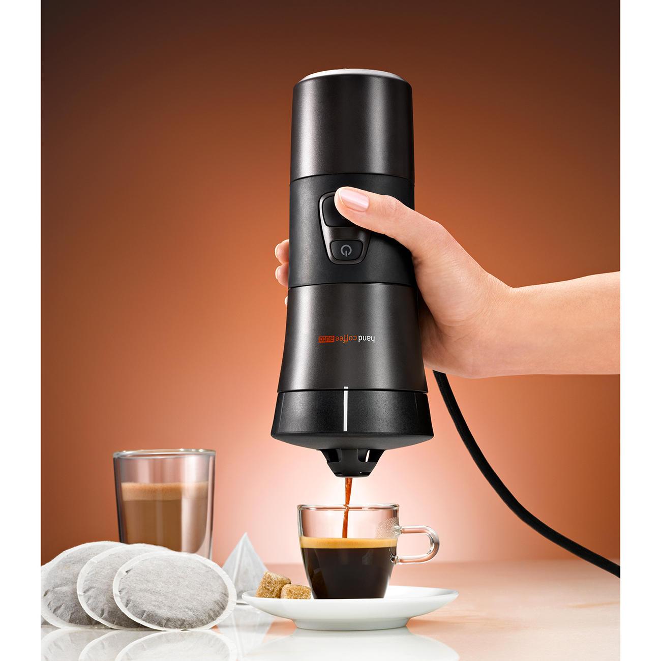 handcoffee mobile kaffeemaschine f r kaffepads 12 volt handpresso. Black Bedroom Furniture Sets. Home Design Ideas