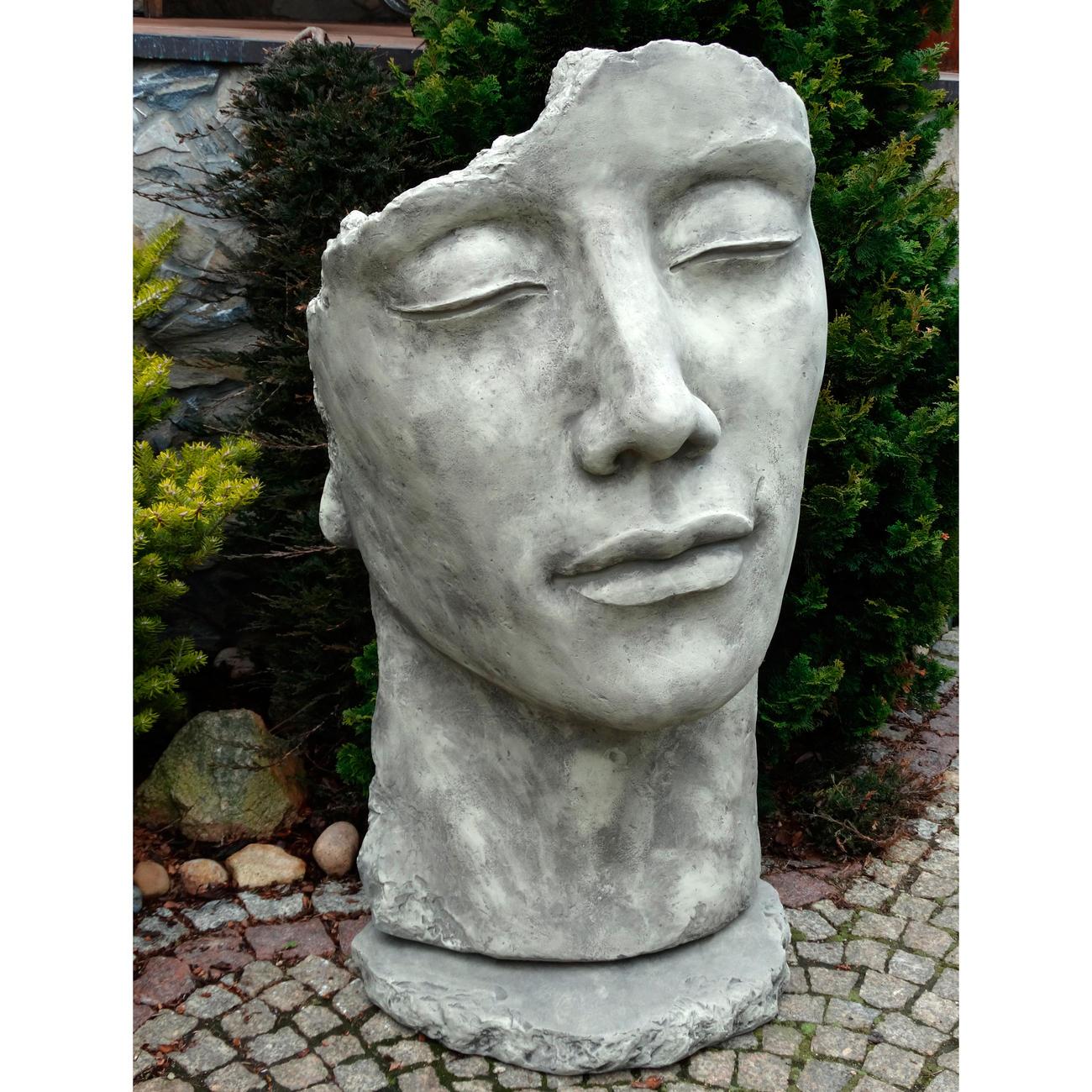 Vidroflor Steinguss Gartenfigur Gesicht Mann Inkl Platte Zur Montage 115 Cm