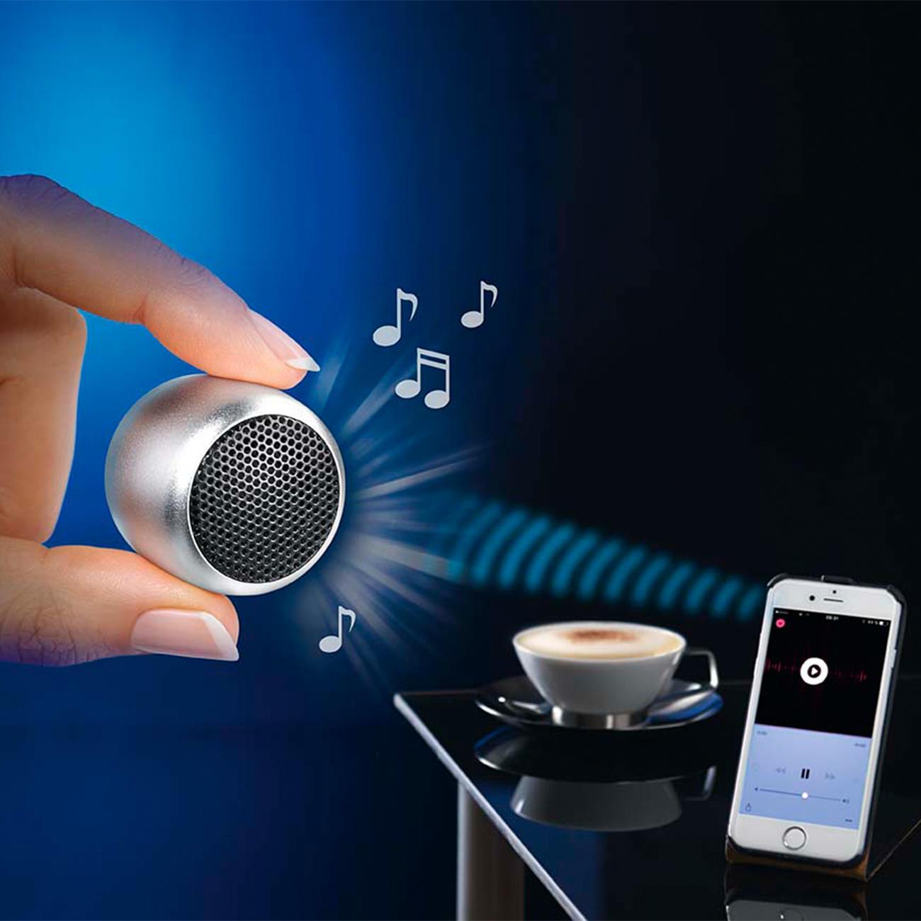 mini bluetooth lautsprecher mini speaker silber 3 4 x 2 5 cm durchmesser x h. Black Bedroom Furniture Sets. Home Design Ideas