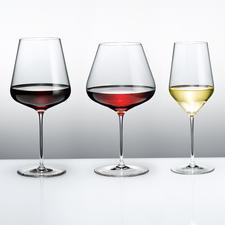 Die Weingläser namhaftester Glashütten im Profi-Test: Dies sind die Sieger. (Von links nach rechts: Bordeauxglas, Burgunderkelch, Weissweinglas)