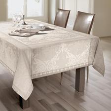 """Tischwäsche """"Shabby-Chic"""" - Aufwändig mit verblasstem Muster als Jacquard gewebt. Durch genialen Fleckschutz stets tadellos."""
