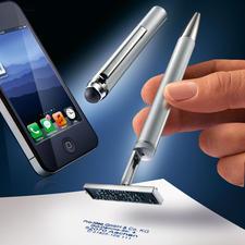 Genial: Dieser Kugelschreiber ist zugleich auch Touchpen und Stempel.