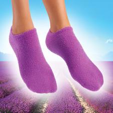 Socken oder Handschuhe mit Pflege-Gel - Streichelzart gepflegte Hände und Füsse. Pflegendes Jojoba. Erfrischender Lavendel.