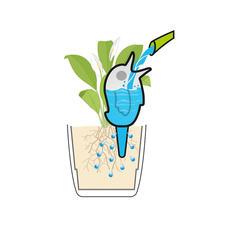 Über den Ton-Spiess bedient sich die Pflanze aus dem Wasserreservoir in der Figur.