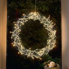 LED-Deko-Kranz - Stimmungsvoller Lichterglanz. In- und outdoorgeeignet. Aus wetterfestem Edelstahl.