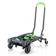 Klappbarer 2-in-1-Transportwagen - Doppelt hilfreich: Transportwagen und Sackkarre in einem. Zusammengeklappt 10,5 cm schmal. 6,8 kg leicht. 135 (!) kg Tragkraft.