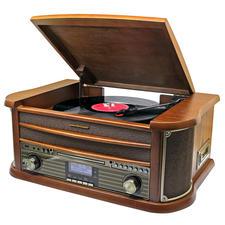 """Stereo-Musikcenter """"50er Jahre"""" - Spielt Schallplatten, Kassetten, CD und Radio ... und speichert auf Wunsch direkt auf USB-Stick."""
