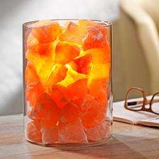 """Salz-Kristall """"Feuer im Glas"""" - Transluzente Kristalle verwandeln das Licht in lebendiges Feuer und verzaubern die Atmosphäre."""