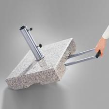 Granit-Schirmständer, 70 kg - Kompakter Schirmständer aus echtem Granit mit 2 leichtlaufenden Rollen.