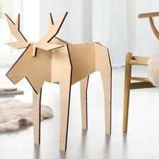 Holz-Elch Pierre - Fernab vom üblichen Weihnachtskitsch: modern gestaltete Elch-Figuren. In nur 10 Sekunden aufgestellt.