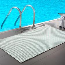 Die Kordelmatte Komfort in türkis/weiss (172 x 92 cm) - perfekt am Pool, im Wellnessbereich, ...