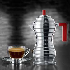 """Alessi Espressokocher """"Pulcina"""" - Alessis schönster Espressokocher. Mit dem Know-how von Illycaffè. """"Pulcina""""(Küken) ist das Produkt 15 Jahre langer Entwicklungsarbeit aus Italien."""