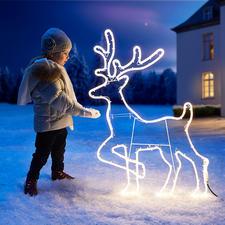 Rentier-LED-Silhouette - Eine intensiv und rundum gleichmässig leuchtende LED-Schnur zeichnet die Silhouette.
