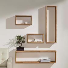 "Wandregale ""Eiche-Quader"" - Frei zu arrangieren. Stabil stabverleimtes Massivholz – moderne, leichte Anmutung."