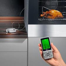 Funk-Küchen-/Grillthermometer - Mehr Programme. Mehr Gargrade. Patentierte Back-Kontrolle. Höhere Funkreichweite. 360 °C-hitzebeständiges Kabel.
