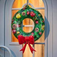 Aufblasbarer Türkranz - So einfach und doch so eindrucksvoll. Weihnachtsdekoration in Sekundenschnelle. Alle Jahre wieder.