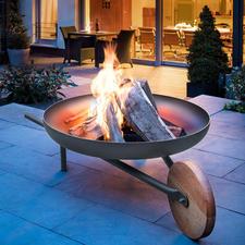 """Feuerschale mit Grillfunktion """"Barrow"""" - Zünftiges Lagerfeuer. 70(!) cm-Grill. Und sogar bequem zu kutschieren. Die edle Feuerstelle im Schubkarren-Design."""