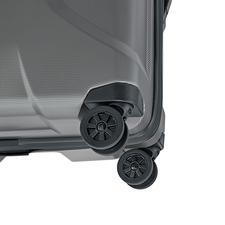 Die vier gummierten 360°-Zwillingsrollen sind besonders laufruhig und stabil.