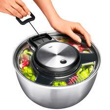 Gefu® Salatschleuder - Preisgekröntes Edelstahl-Design trocknet empfindliche Blattsalate schonender. Ohne Richtungswechsel.