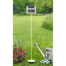 Solar-Gartenthermometer mit Funkuhr - Mit Solarbeleuchtung, Zeitschalt-Automatik und Riesen-LC-Display. Auch aus dem Wintergarten, Wohn- und Esszimmer, ... noch leicht ablesbar.