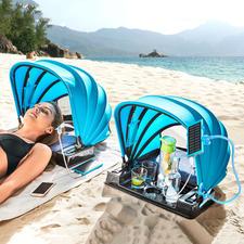 Strandmuschel 2.0 - Portabler Schattenspender 2.0: klappbares Sonnendach mit Powerbank, Ladeanschluss und USB-Ventilator.