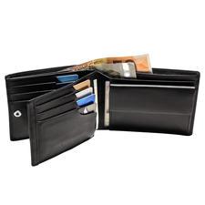 Patentierte Lederbörse - Mit patentiertem Sicherungssystem für Ihre Kreditkarten. Lässt keine Karte mehr herausfallen.