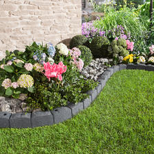 Rasenkante Stone, 4er-Set - Leicht. Flexibel. Nachhaltig: Die Rasenkante aus recycelten Reifen.