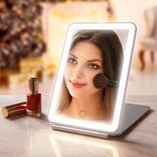 Klapp-Kosmetikspiegel - Extra grosse Spiegelfläche. Optimale Ausleuchtung. Elegantes, flaches Design.