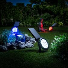 Solar-Gartenstrahler mit Farbwechsler - Starker, sensorgesteuerter Gartenstrahler. Multicolor Lightshow. Null Stromkosten. In 7 Farben oder mit Farbwechsel.