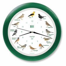 Vogelstimmen-Funkwanduhr - Mit 12 unterschiedlichen Original-Vogelstimmen. Die singende Vogeluhr verbreitet jede Stunde gute Laune.