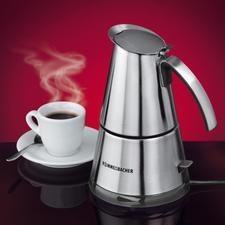 Design-Espressokocher - Jetzt in modernem Edelstahl-Design. Für 2 und 4 Tassen.