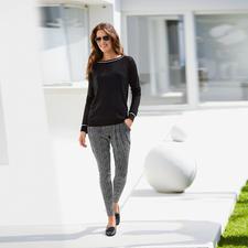 Carbery Ajour-Pullover - Der schwarze Pullover für warme Tage. Aus luftigem Baumwoll/Seide-Ajour-Strick. Vom irischen Edelstricker Carbery.