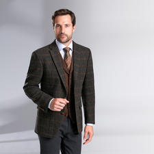 Carl Gross Harris Tweed-Sakko oder -Weste - Original Harris Tweed von den Äusseren Hebriden – aber viel feiner und       leichter als üblich. Von Carl Gross.