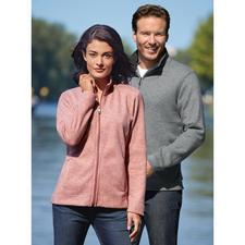 Strick-Fleece Damen-Jacke oder Herren-Troyer - Aussen klassisch-elegante Strick-Optik. Innen kuscheliger Fleece. Für Damen als Jacke. Für Herren als Troyer.
