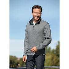 Strick-Fleece Herren-Troyer - Aussen klassisch-elegante Strick-Optik. Innen kuscheliger Fleece.
