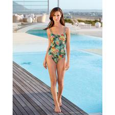SunSelect®-Badeanzug Hibiskus - Aus Sonnen durchlässigem SunSelect® – mit aussergewöhnlichem Palmen/Hibiskus-Print.
