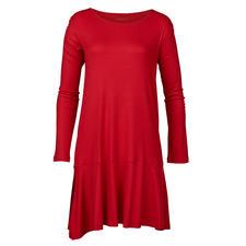 Novila Night & Day-Dress - Modisches Rot. Schwingender Volant. Seidiger Glanz. Von Novila.