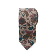 Ascot Blumen-Tweed-Krawatte - Blüten-Druck auf Seiden-Tweed: Muster und Material machen diese Krawatte so interessant.