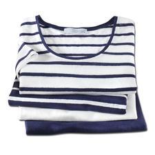 Knitted linen-Marine-T-Shirt - Aussergewöhnlich gut, und doch selten zu finden: Ein T-Shirt aus gestricktem Leinen.