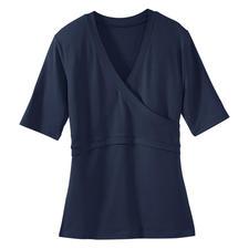 """Kurzarm-""""Wickel""""-Shirt - Endlich ein Wickelshirt, das perfekt sitzt. Sein Geheimnis: Optischer Wickeleffekt – ohne lästige Bänder."""