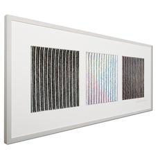 Betrachten Sie das Werk von links: Sie sehen ein schwarz-weiss-schwarzes Linienraster.