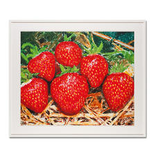 """Thomas Baumgärtel – o. T. Erdbeeren - Die berühmteste Banane der Kunstwelt: Baumgärtels Erdbeeren bestehen aus hunderten Bananen. Edition """"o. T. Erdbeeren"""" – exklusiv für Pro-Idee. Handübersprüht. 20 Exemplare. Masse: 85 x 70 cm"""