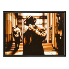 """Max Zorn: """"It has been a while"""" - Max Zorn: Unfassbar, dass seine Originale ausschliesslich aus Klebeband bestehen. Ausdrucksstarke Reproduktion auf Acrylglas – einzigartig präsentiert in einem beleuchteten, kabellosen Objektrahmen. Erste Edition mit 20 Exemplaren."""