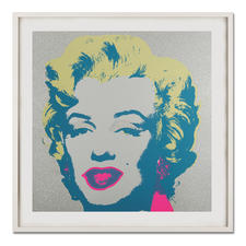 "Andy Warhol – Marilyn Diamond Dust - Andy Warhols Marilyn Monroe – mit glitzerndem ""Diamond Dust"" veredelt. Siebdrucke aus der bedeutenden Sunday B. Morning Edition. Masse: gerahmt 112 x 112 cm"