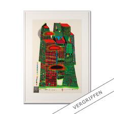 """Friedensreich Hundertwasser: """"Good Morning City HWG41"""" - Einer der letzten noch erhältlichen handsignierten Siebdrucke von Hundertwasser. Im seltenen Hochformat."""