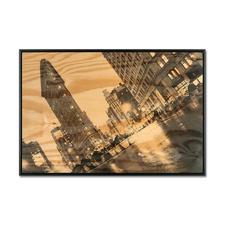 "Georgia Ortner: ""New York Flatiron"" - Georgia Ortners erste Edition auf 6 mm dickem Fichtenholz – schwebend gerahmt. 100 Exemplare. Exklusiv bei Pro-Idee."