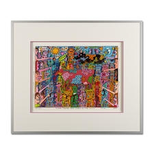 James Rizzi – Look – There are Cows in the City, 2000 - Handsignierte 3D-Papierskulpturen des verstorbenen James Rizzi. Masse: gerahmt 70 x 60 cm