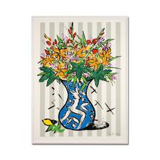 "Stefan Szczesny: ""Flowers on Stripes"" - Stefan Szczesnys grossformatigste Grafik-Edition. Im Format 120 x 160 cm. 60 Exemplare."
