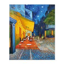 """Zhao Xiaoyong malt Vincent van Gogh: """"Caféterrasse am Abend"""" - Vincent van Goghs: """"Caféterrasse am Abend"""". Die perfekte Kunstkopie – 100 % von Hand in Öl gemalt."""