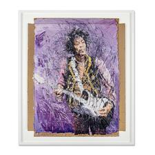 Oliver Jordan – Jimi Hendrix - Oliver Jordans zweite Jimi-Hendrix-Auflage (die erste war nach kurzer Zeit ausverkauft). Exklusive Pro-Idee-Edition auf Kartonage. 20 Exemplare. Masse: gerahmt 92 x 108 cm